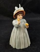 Maud Humphrey Bogart Figurine A Flower For You Girl Blue Dress H5596 COA... - $16.44