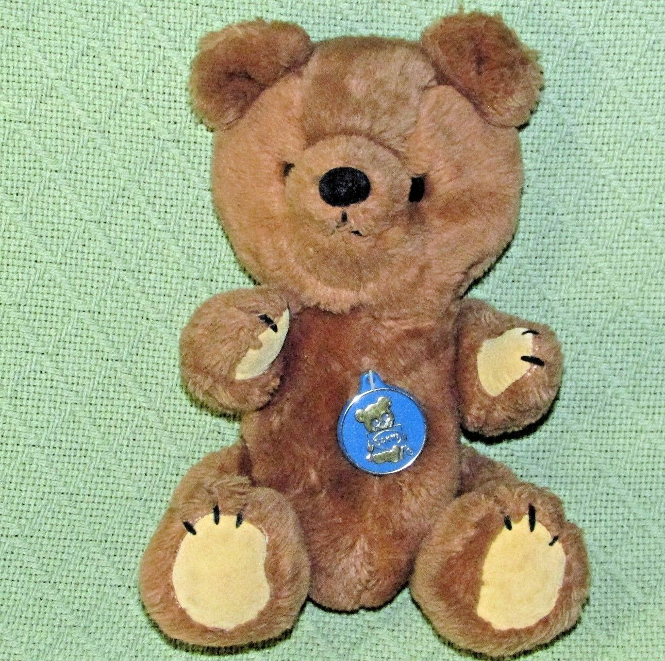 Primary image for Vintage DAKIN TEDDY BEAR JOINTED 1981 Brown BLUE PLASTIC TAG Suede Paws Plush
