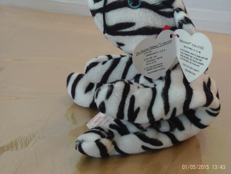 1st Edition TY Beanie Babies Rare Blizzard the Tiger, No Stamp, Deutschland, PVC