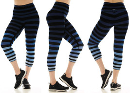 K-Deer Women's Blue/Black/Grey Emme Stripe Capri Length Leggings, XS-4X