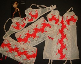 Victoria's Secret unlined 36D BRA SET+garter SLIP+skirt Sexy Seduction RED IVORY - $138.59