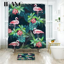 IBANO Tropical Flamingo Pattern Shower Curtain Waterproof Polyester Fabric Curta - $35.69