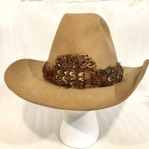 STETSON Cowboy HAT Bill Bullocks Felt 4X Beaver Size 7 1/2 Quail Feather... - $47.98