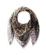 $395 NEW Roberto Cavalli Leopard Pattern Silk 35 IN Square Neck Scarf Sh... - £191.47 GBP