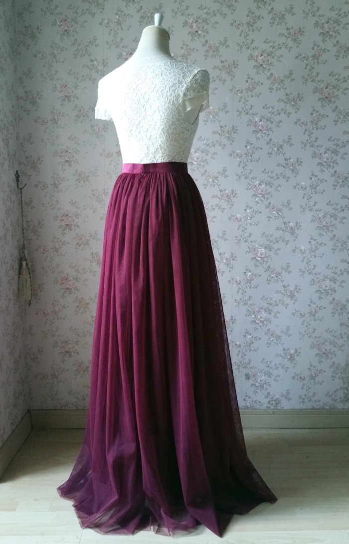 Maroon Wine Red Burgundy High Waisted Long Tulle Skirt Women's Bridesmaid Skirt