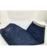 Levi Strauss Womens 14 Jeans Capri Dark Blue Wash Cuffed  Button Fly  - $14.01