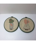 """Sunbonnet Sue Overall Sam Finished and Framed Cross Stitch 6.75"""" Round  - $18.37"""