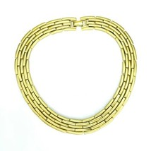 "Vintage Monet Signed Goldtone Brick Basket Weave Choker Necklace 15"" - $24.24"