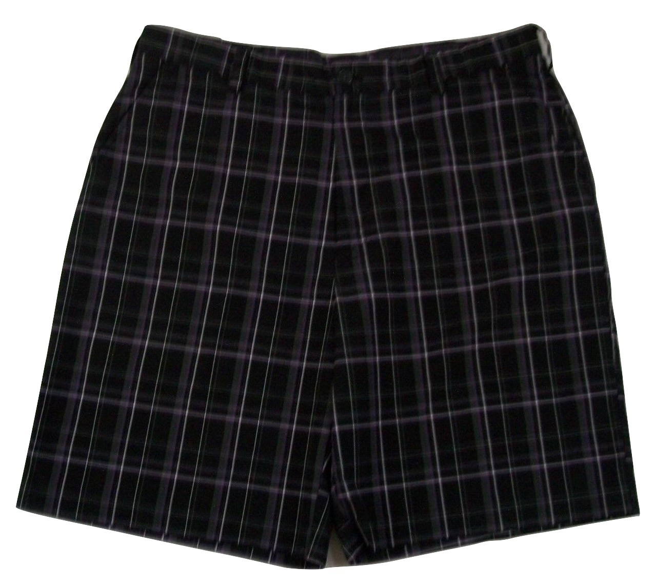 "IZOD Plaid Flat Front Golf Shorts Men's W36 Inseam 9"" 100% Polyester"