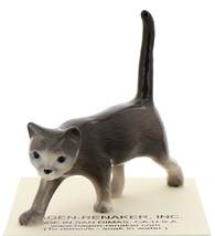 Hagen-Renaker Miniature Ceramic Cat Figurine Gray Cat Walking image 1