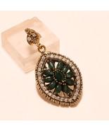 Zambian Emerald Gemstone 925 Sterling Silver Pendant HurremSultan Ethnic... - $23.74