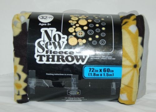 No Sew Fleece Throw 72 Inches Long 60 Inch Wide Black Yellow Grey White Colors