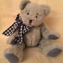 Lyndon RUSS Berrie Teddy Bear Grey w/Blue Check Ribbon Retired Rare Item 712 - $38.59