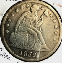 1852 dollar Liberty Seated 90 percent Pure Silver, Excellent, in stock .... - $53.45