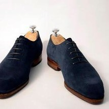 Handmade Men's Navy Blue Suede Oxford Shoes image 4