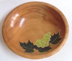 """Primitive Wood Bowl 11"""" Handpainted Grapes Vintage - $25.15"""