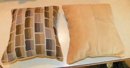 Pair of Tan Brown Abstract Print Throw Pillows  10 x 10 - $29.95