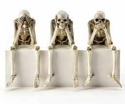 Set of 3 Halloween Skeleton Design Figurine Shelf Sitters See Hear Speak No Evil