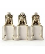 Set of 3 Halloween Skeleton Design Figurine Shelf Sitters See Hear Speak... - $65.33