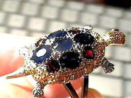 BLUE SAPPHIRE RUBY TURTLE NATURAL 925 Sterling Silver Ring 7.25 - £52.86 GBP
