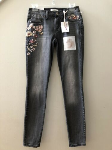 Primary image for NWT Jessica Simpson Gray Kiss Me Super Skinny Stretch Sequins Jeans Size 26