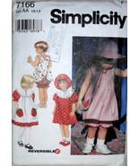 Simplicity 7166, Pattern Girls, Toddler Dress, Reversible Pinafore, Top ... - $10.00
