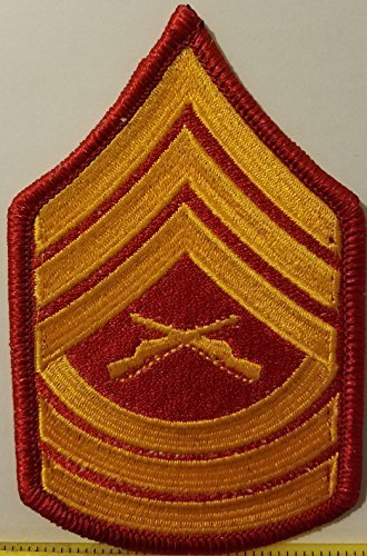 Primary image for Master Sergeant USMC Rank Insignia Embroidered Iron-On Patch Emblem Red Border