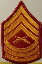 Master Sergeant USMC Rank Insignia Embroidered Iron-On Patch Emblem Red ... - $5.93