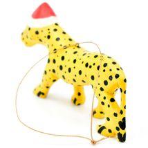 Hand Carved & Painted Jacaranda Wood Santa Hat Cheetah Safari Christmas Ornament image 3