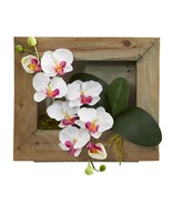 White Phalaenopsis Orchid Silk Arrangement in Frame Nearly Natural 1494WH - $83.24 CAD
