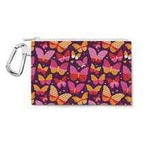 Hot Pink Butterflies Canvas Zip Pouch - $15.99+