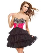 Sexy Strapless Party Time Short Prom Black Dress w/Leopard Bodice, Fuchs... - $105.15 CAD