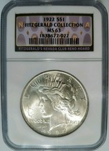 1922 Silver Peace Dollar Fitzgerald Collection NGC MS 63 Nevada Casino H... - $97.74