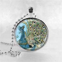 PEACOCK Art Deco Pendant Necklace Jewelry Peacock Pendant, Peacock Jewel... - $11.95