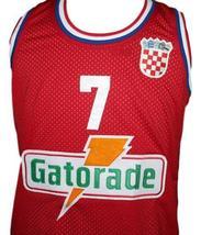Toni Kukoc #7 Croatia Yugoslavia Custom Basketball Jersey New Sewn Red Any Size image 3