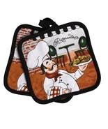 FAT CHEF POTHOLDERS Set of 2 Pot Holders Italian Cook Black Trim Ristorante - $7.99