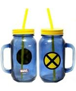 1 Marvel X-Men Glass Jar Drinking Mug w/ Handle, Metal Lid  & Hard Plastic Straw - $24.74