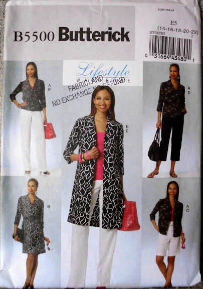 Butterick 5500 Casual Wear Dress Coat Pants Shorts Tops Easy Sew Sizes E5 14-22