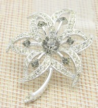 SARAH COVENTRY Silver Tone Clear Grey Gray Rhinestone Flower Pin Brooch Vintage - $13.86