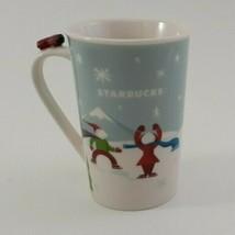 Starbucks Mug Cup 2011 Holiday Christmas Coffee Tea Red Airplane Dog Sled image 1