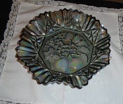 Smoke Gray Carnival Glass  Federal Pioneer Serving bowl iridescent - $25.00