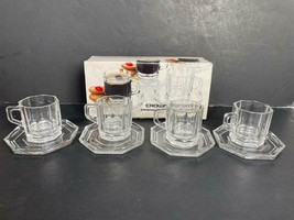 Vintage Crown Corning Tempered Demitasse Cups and Saucers 1984 Service for 4 - $49.49