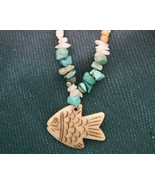Necklace Old Mine Kingmans Turquoise with Milk quartz and Fish pendant - $25.53