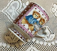 Vintage ENESCO Lucy & Me TEDDY BEAR Coffee Mug Hearts LOVE Retro Cup - $9.00