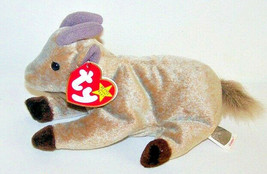 """Ty 1998 GOATEE Tan Goat with Brown Hoofs and Gray Horns New 8"""" Plush  - $6.93"""