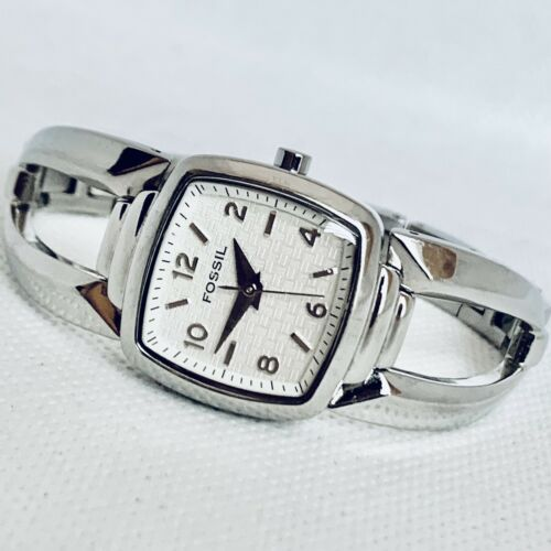 Primary image for Fossil f2 ES1882 Stainless Steel Women's 24mm Square Dial Analong Watch NICE!