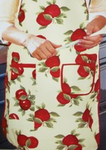 """Fabric Kitchen Apron with pocket & small towel, 23"""" x 36"""", RED APPLES, BH - $14.84"""