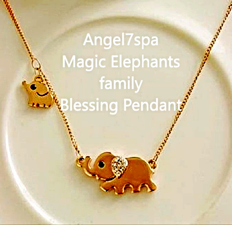 Magic Reiki  Elephants Family Blessings, Harmony,love  Necklace  spellbound