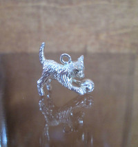 Sterling Silver Bracelet Charm KITTEN With Yarn, Cat Cats Vintage 1940s ... - $54.45