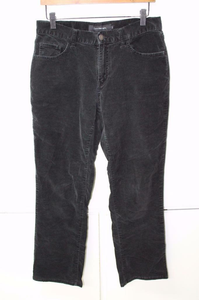 Primary image for W11616 Womens CALVIN KLEIN JEANS black stretch BOOT CUT CORDUROY JEANS, size 8